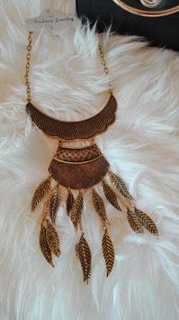 "Halskette goldfederförmig ""Phoenix"""