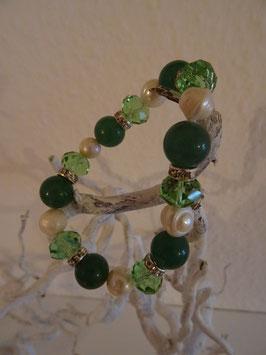 Mineral Armband mit Kristall und Perlen