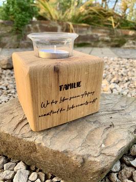 Windlicht Eichenholz Familie