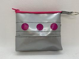 Mini- Kosmetiktasche - LKW-Planentäschchen - Upcycling silber/ pink