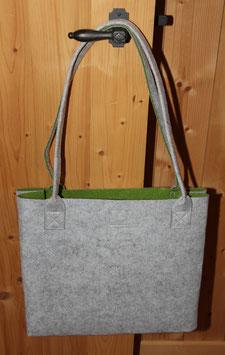 super-shopper/ Henkeltasche -  aussen grau / innen grün