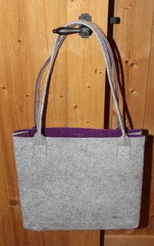 super-shopper/ Henkeltasche  - aussen grau / innen violett