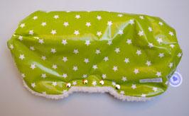 Kinderwagen-Muff aus Wachstuch mit kleinen weissen Sternen