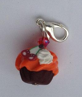 Charm Anhänger Cupcake orange mit Kirschen