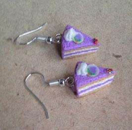 Trauben Torte, Kuchen Ohrringe lila