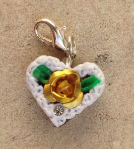 Charm Mini-Lebkuchenherzen Rose metall gold