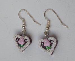 """Ohrringe Mini-lebkuchenherz """"Pilz"""" rosa"""