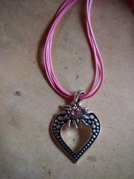Kette Edelweiss im Herz rosa