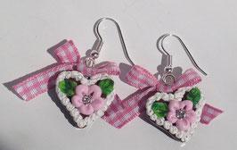 Ohrring Lebkuchenherz Blume rosa