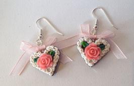 """Ohrring Lebkuchenherz """"Rose"""" rosa"""