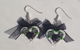 Ohrring Lebkuchenherz Blume schwarz