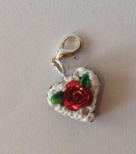 Charm Mini-Lebkuchenherzen Rose metallig dunkelrot