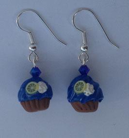 Ohrringe Cupcake blau Zitrone