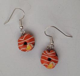 Ohrringe Donut orange mit gestreiften Zuckerguss und Orangen