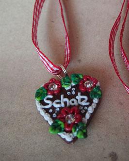 """Lebkuchenherz Kette """"Schatz"""" groß rot"""