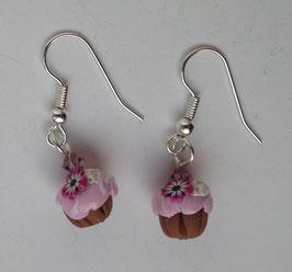 Ohrringe Muffin rosa mit Blume und Sahne