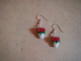Ohrringe Blumentopf Röschen rot