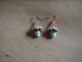 Ohrringe Blumentopf Röschen hell rosa, Rosentopf