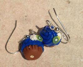 Ohrringe Cupcake blau mit Kiwi
