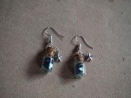 Ohrringe  Fläschle mit ozeanblauen Pailletten und Sternchen