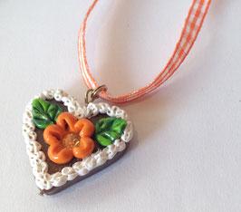 Lebkuchenherz Kette klein Blume orange
