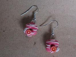 Ohrringe Donuts rosa mit Blutorangen