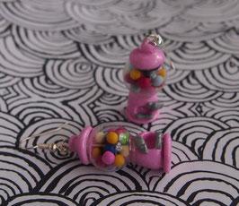 Ohrringe Kaugummi-Automat rosa