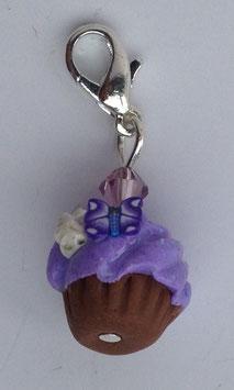 Charm Anhänger Cupcake flieder mit Schmetterling