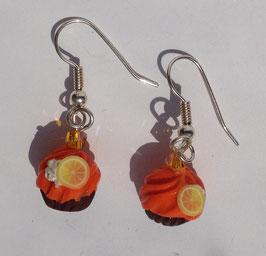 Ohrringe Cupcake orange mit Zitrone und Sahne