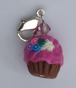 Charm Anhänger Cupcake rosa mit Blumendeko