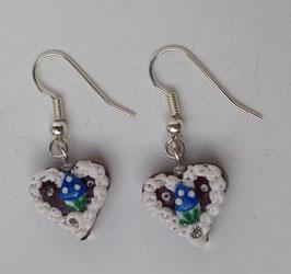 """Ohrringe Mini-lebkuchenherz """"Pilz"""" blau"""