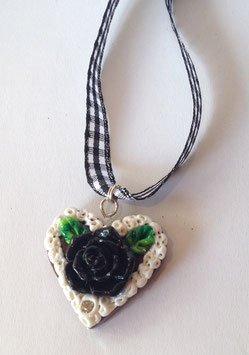 Lebkuchenherz Kette klein Rose schwarz