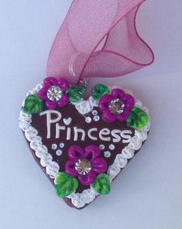"Lebkuchenherz Kette gross ""Princess"" lila"
