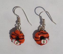 Ohrringe Donut orange mit gestreiften Zuckerguss und Apfel