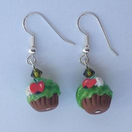 Ohrringe Cupcake grün mit Kirsche