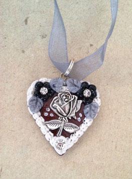 Kette Lebkuchenherz Rose schwarz