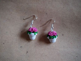 Ohrringe Blumentopf Röschen dunkel rosa, Rosentopf