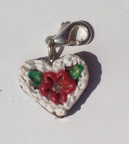 Charm Mini-Lebkuchenherzen Blume rot