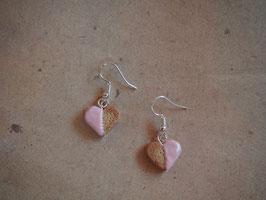 Ohrringe Gebäck Herz, Herzchen rosa, pastellfarben, Cookie, Keks