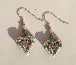 """Ohrringe Mini-Lebkuchenherz """"Schmetterling"""" rosa"""