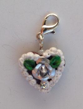 Charm Mini-Lebkuchenherzen Rose metallig silber