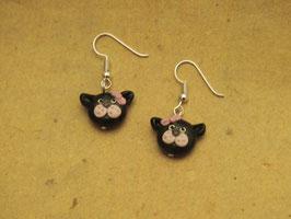 Ohrringe Katze mit rosa Schleife