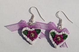 Ohrring Lebkuchenherz lila Blume mit Perle