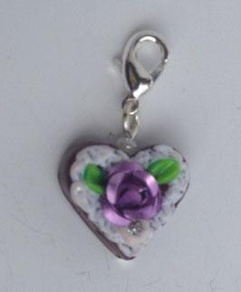 Charm Mini-Lebkuchenherzen Rose metallig lila