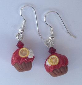 Ohrringe Cupcake rot Zitrone