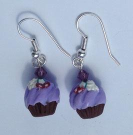 Ohrringe Cupcake pastell-lila mit Kirschen
