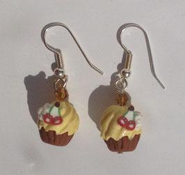 Ohrringe Cupcake Vanille-Kirsch