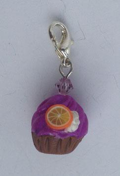 Charm Anhänger Cupcake lila mit Orange