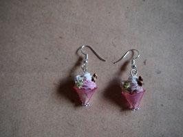 Ohrringe Eisbecher, Eiskrem rosa