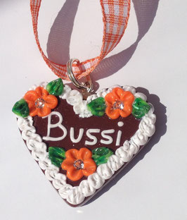 "Lebkuchenherz Kette gross ""Bussi"" orange"